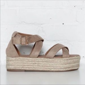 Shoes - Nude Espadrille Platform Sandals